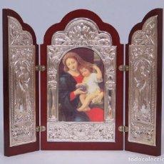 Arte: BONITO TRIPTICO DE PLATA 925. CON IMAGEN DE VIRGEN DE LAS UVAS. PIERRE MIGNARD. Lote 124514843