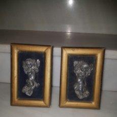 Arte: ANTIGUA Y BONITA PAREJA DE ANGELITOS ENMARCADOS. Lote 124547054