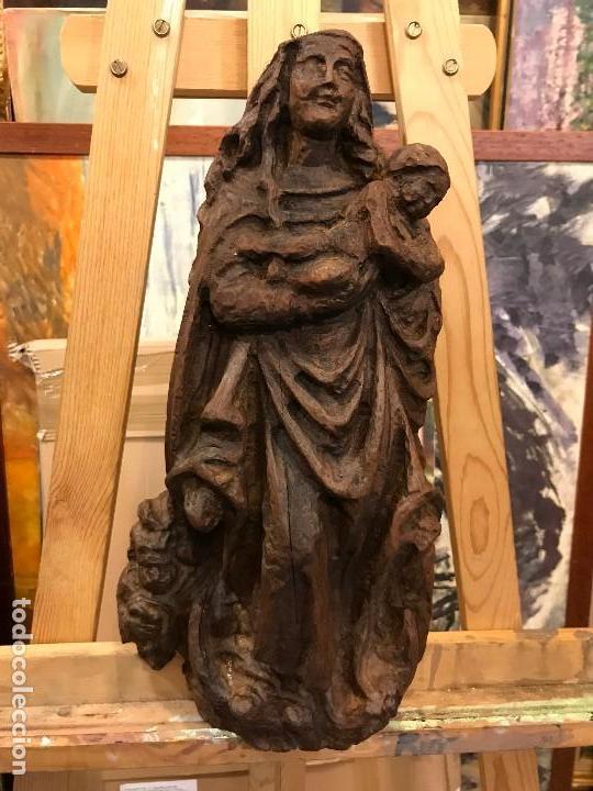 MAGNIFICA VIRGEN DE ESTILO GOTICO TALLADA EN MADERA (Arte - Arte Religioso - Escultura)