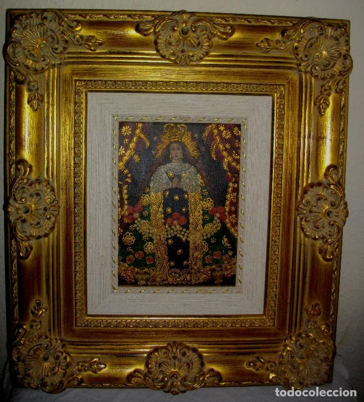 OLEO CUZQUEÑO AUTENTICO (( PERU 1999)) LIENZO ENTABLILLADO 45 X 40 CTMS (Arte - Arte Religioso - Pintura Religiosa - Oleo)