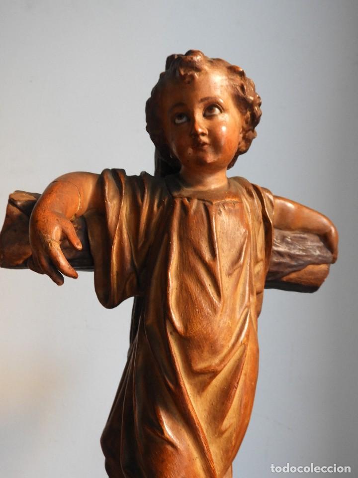 Arte: ANTIGUO NIÑO JESUS EN LA CRUZ OJOS CRISTAL ESTUCADO - Foto 11 - 125072663