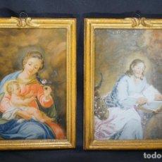 Arte: VIRGEN MARÍA, NIÑO Y SAN JOSÉ. DOS CRISTALES PINTADOS. ESPAÑA. CARLOS IV. SIGLO XVIII-XIX.. Lote 125073291