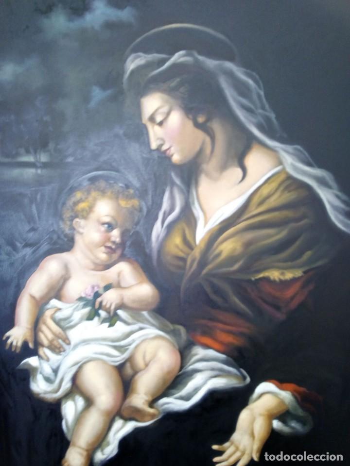 VIRGEN MARÍA CON NIÑO JESÚS. POR JOLOGA. 81X65. ELIGE MARCO A TU GUSTO. (Arte - Arte Religioso - Pintura Religiosa - Oleo)