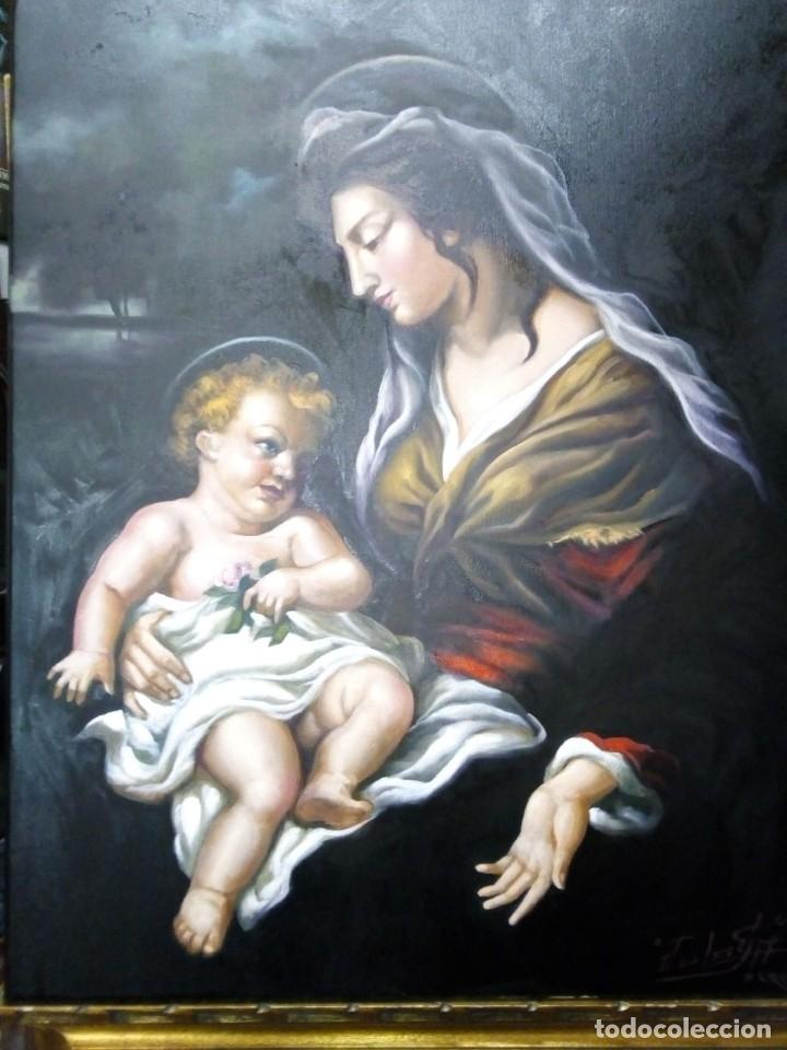 Arte: VIRGEN MARÍA CON NIÑO JESÚS. POR JOLOGA. 81X65. ELIGE MARCO A TU GUSTO. - Foto 4 - 125147835