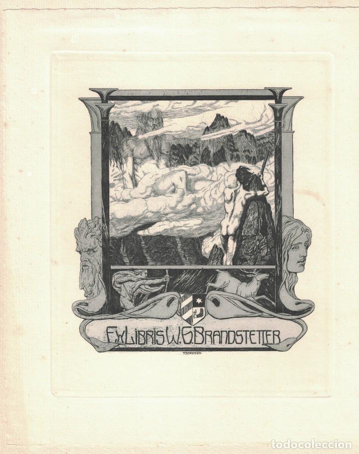 EX-LIBRIS BRANDSTETTER BY FRANZ STASSEN (Arte - Arte Religioso - Grabados)