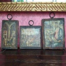 Arte: LOTE DE TRES TABLAS CON TEMA RELIGIOSO. MADERA, PAPEL, DECORACION, ANTIGUO.. Lote 125159007