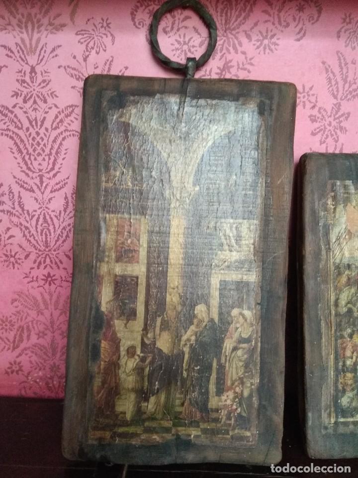 Arte: LOTE DE TRES TABLAS CON TEMA RELIGIOSO. MADERA, PAPEL, DECORACION, ANTIGUO. - Foto 2 - 125159007