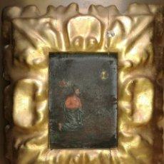 Arte: ANTIGUO PEQUEÑO CUADRO DE JESÚS, PARA RESTAURAR, MARCO PAN DE ORO.. Lote 125196316