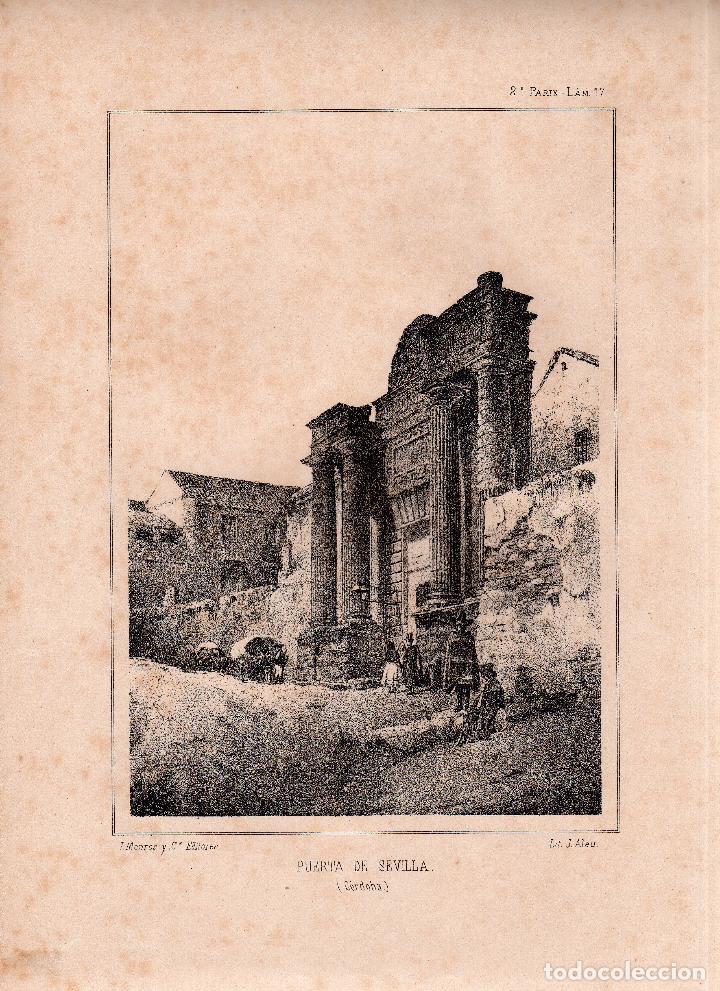 LITOGRAFIA. I. MONROS Y Cª. PUERTA DE SEVILLA, CORDOBA. MEDIDAS : 32,5 X 22. (Arte - Arte Religioso - Litografías)