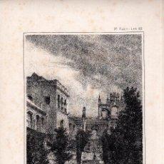 Arte: LITOGRAFIA. I. MONROS Y Cª. JARDINES DEL ALCAZAR, SEVILLA. MEDIDAS : 32,5 X 22. . Lote 125275787