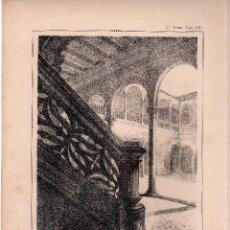 Arte: LITOGRAFIA. I. MONROS Y Cª. CLAUSTRO DEL CONVENTO DE CALATRAVA, EN ALMAGRO. CASTILLA,32,5 X 22. CM. . Lote 125277463