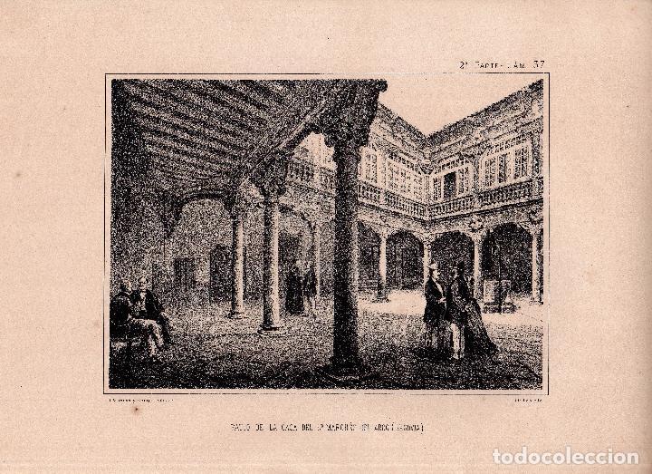 LITOGRAFIA. I. MONROS Y Cª. PATIO DE LA CASA DEL SR. MARQUES DEL ARCO, SEGOVIA. 32,5 X 22. CM. (Arte - Arte Religioso - Litografías)