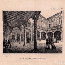 Arte: LITOGRAFIA. I. MONROS Y Cª. PATIO DE LA CASA DEL SR. MARQUES DEL ARCO, SEGOVIA. 32,5 X 22. CM.. Lote 125279379