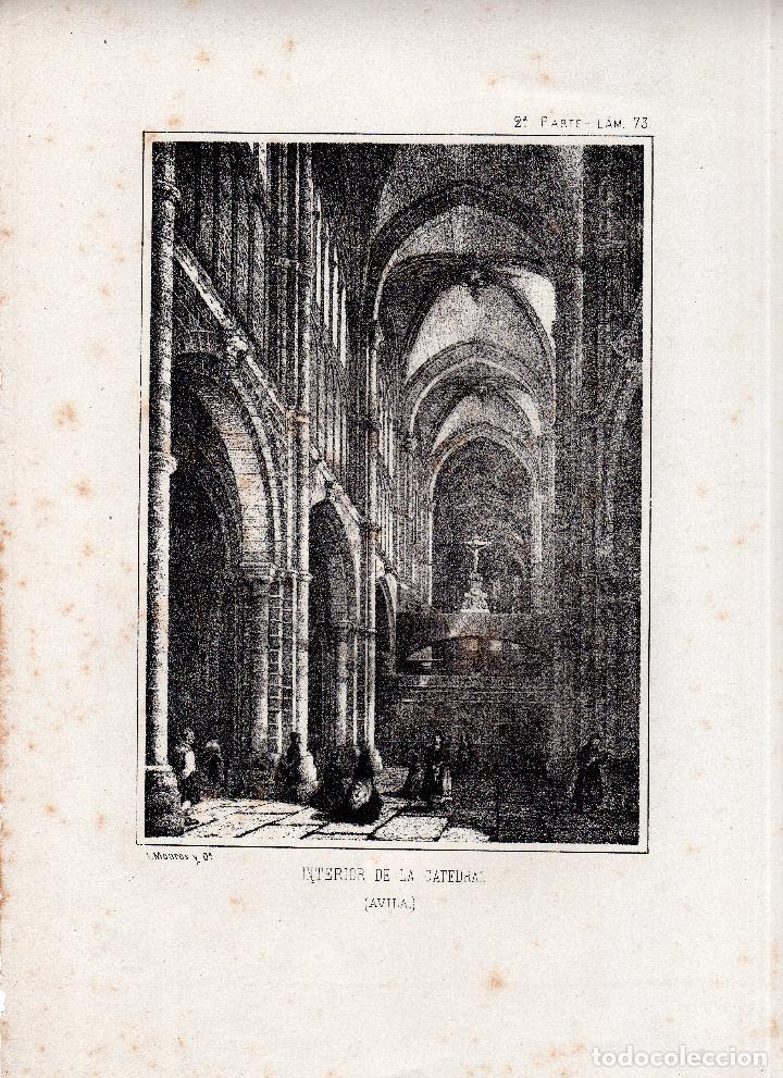LITOGRAFIA. I. MONROS Y Cª. INTERIOR DE LA CATEDRAL, AVILA. 32,5 X 22. CM. (Arte - Arte Religioso - Litografías)