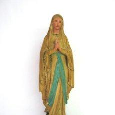 Arte: 57 CM - S.XIX VIRGEN DE LOURDES - ESTUCO PASTA MADERA ART RELIGIEUX TOULOUSE CON MARCAS - NO OLOT. Lote 125378767