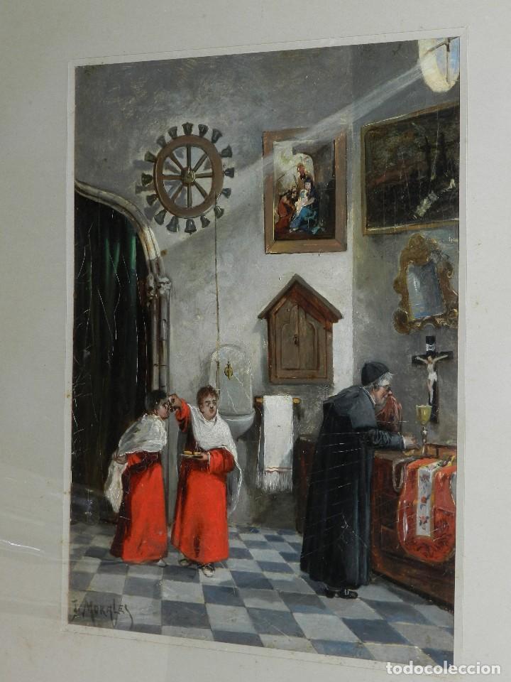 (BF) OLEO RELIGIOSO FIRMADO J MORALES , BONITO OLEO ESCENA RELIGIOSA , PRINCIPIOS S.XX (Arte - Arte Religioso - Pintura Religiosa - Oleo)