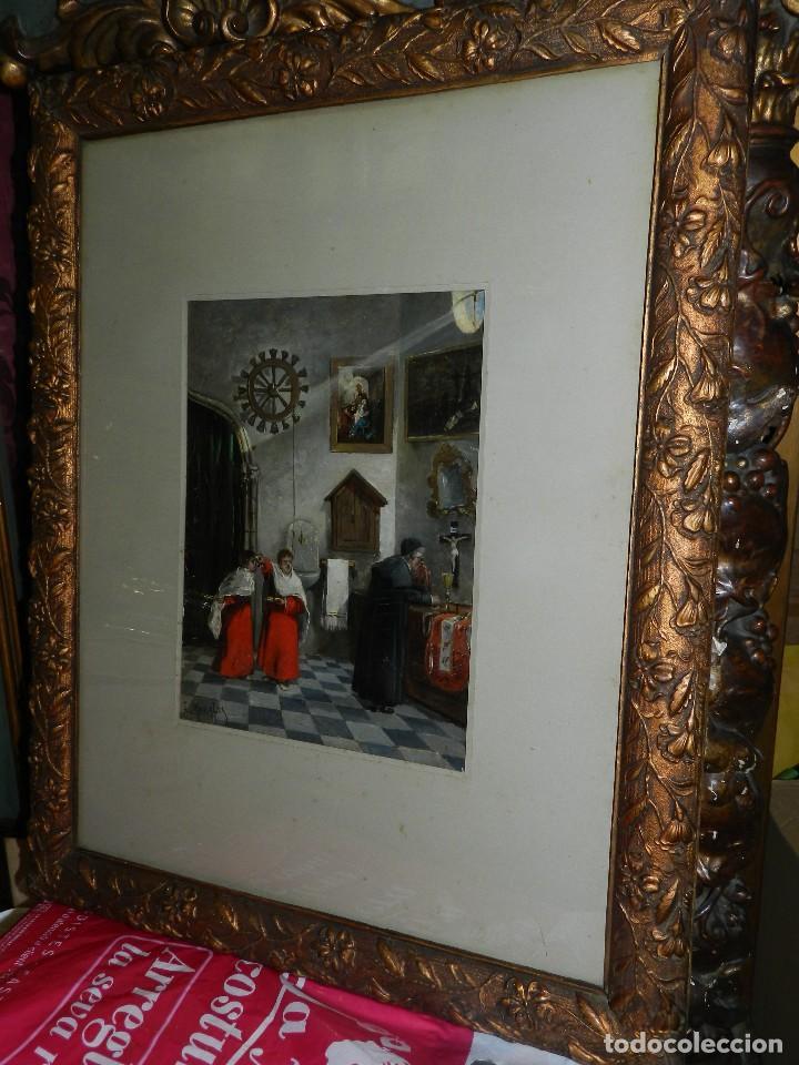Arte: (BF) OLEO RELIGIOSO FIRMADO J MORALES , BONITO OLEO ESCENA RELIGIOSA , PRINCIPIOS S.XX - Foto 11 - 125425531