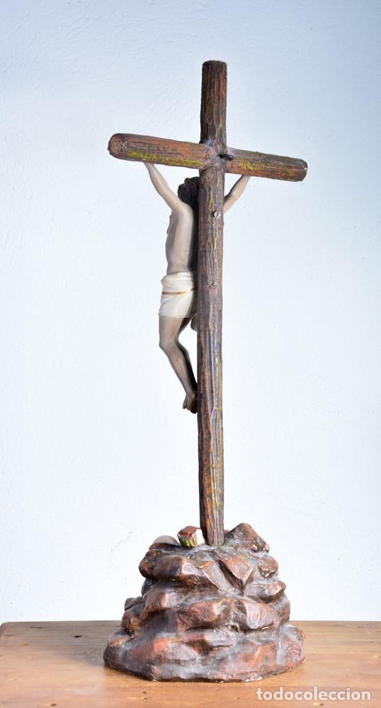 Arte: Cristo en la Cruz con pedestal - Sello Arte Cristiano Olot - Crucifijo escultura s. XIX - Foto 7 - 125730747