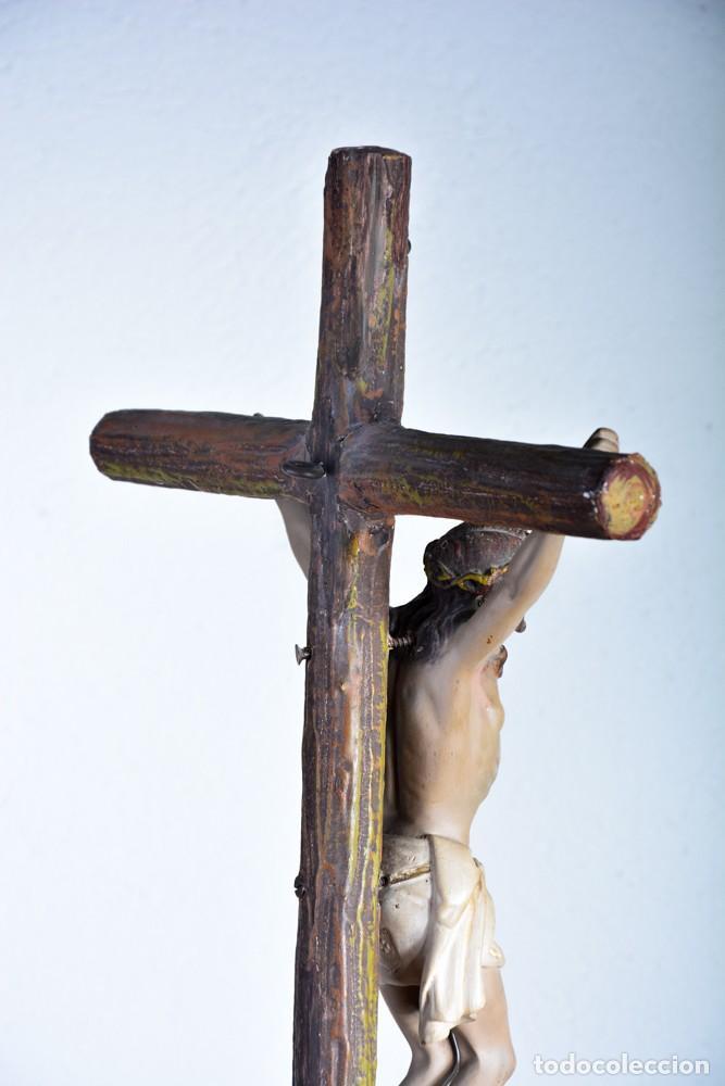 Arte: Cristo en la Cruz con pedestal - Sello Arte Cristiano Olot - Crucifijo escultura s. XIX - Foto 9 - 125730747