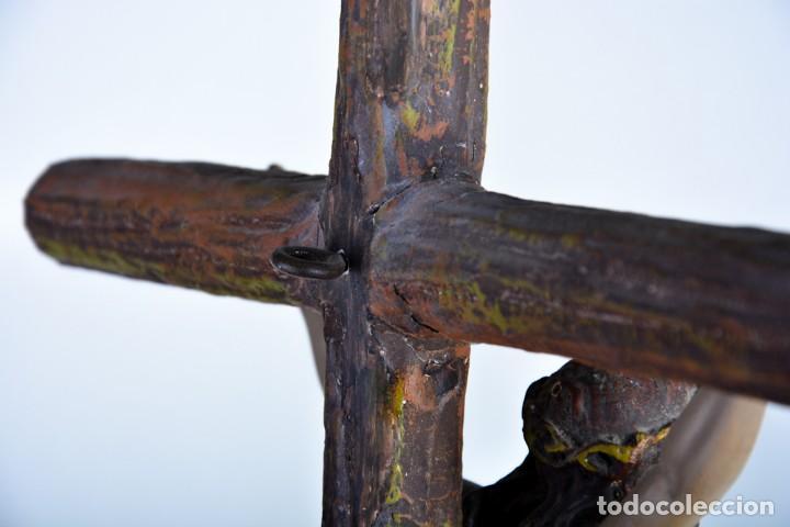 Arte: Cristo en la Cruz con pedestal - Sello Arte Cristiano Olot - Crucifijo escultura s. XIX - Foto 10 - 125730747