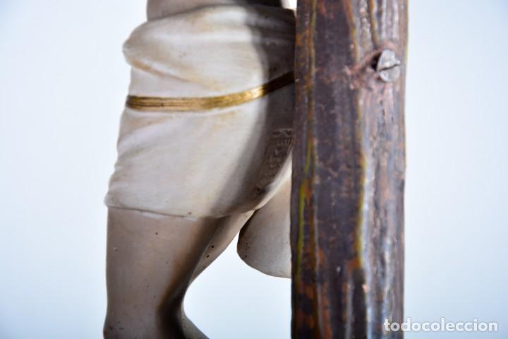 Arte: Cristo en la Cruz con pedestal - Sello Arte Cristiano Olot - Crucifijo escultura s. XIX - Foto 13 - 125730747
