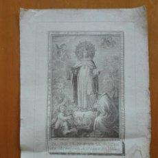 Arte: IMAGEN DE Nª Sª DE LA MERCED...CONVENTO DE VALENCIA. A.RODRÍGUEZ LO DIB., CAPILLA LO G. CA 1800. Lote 125895007