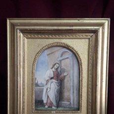 Arte: CUADRO DE JESUS PINTURA EN ACUARELA EN PAN DE ORO FINO CON INSCRIPCIONES . Lote 125997251
