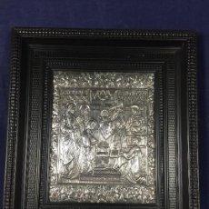 Arte: PLANCHA ICONO PLATA DE LEY REPUJADA BAUTISMO NIÑO JESUS ORTODOXO CENEFA ROLEOS VEGETALES AÑOS 70. Lote 126088151