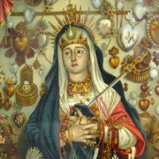 Arte: ANTIQUE OLIOGRAPH 1892 MATER DOLOROSA IN MONTE CALVARIO VENERATE EDUARD GUSTAV MAY SOHNE FRANKFURT. Lote 126207831