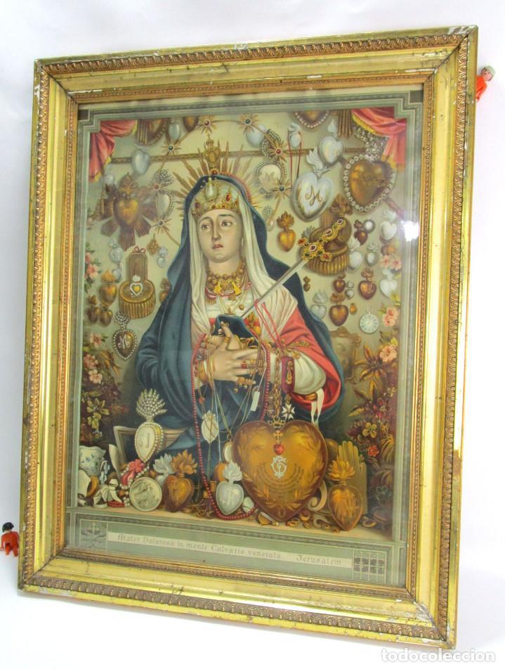 Arte: Antique oliograph 1892 Mater Dolorosa in monte Calvario venerate Eduard Gustav May SOHNE FRANKFURT - Foto 2 - 126207831