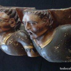 Arte: RELIEVE EN MADERA TALLADA Y POLICROMADA. 80 CM. S. XVII- XVIII. LUTERO, ARRIO Y SABELIO.. Lote 126208815