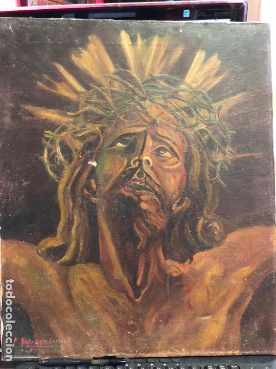 OLEO SOBRE LIENZO CRISTO DE LIMPIAS FIRMADO Y FECHADO - MEDIDA 57X47 CM - RELIGIOSO - CAPILLA (Arte - Arte Religioso - Pintura Religiosa - Oleo)