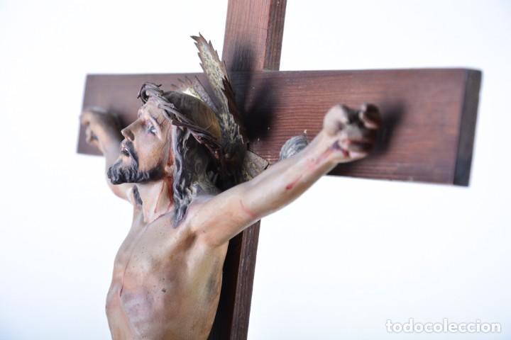 Arte: Crucifijo - Cristo en Cruz - Madera y estuco - Policromado - Marca posible Olot - Foto 6 - 126375503