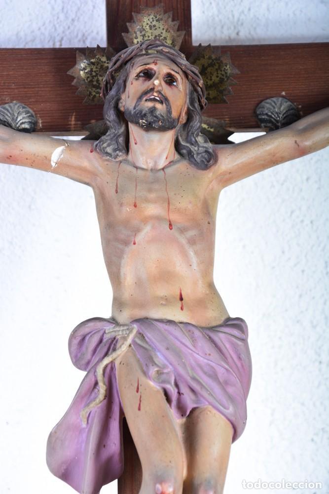 Arte: Crucifijo - Cristo en Cruz - Madera y estuco - Policromado - Marca posible Olot - Foto 9 - 126375503