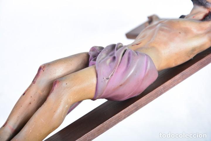 Arte: Crucifijo - Cristo en Cruz - Madera y estuco - Policromado - Marca posible Olot - Foto 11 - 126375503