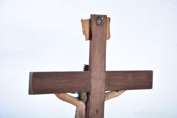Arte: Crucifijo - Cristo en Cruz - Madera y estuco - Policromado - Marca posible Olot - Foto 16 - 126375503