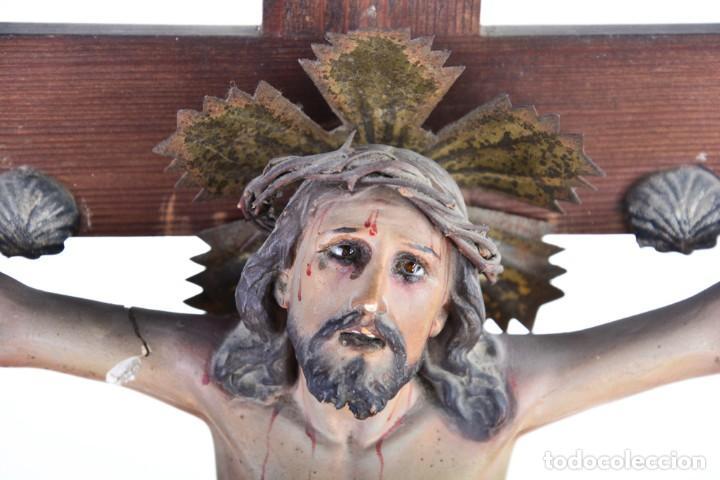 Arte: Crucifijo - Cristo en Cruz - Madera y estuco - Policromado - Marca posible Olot - Foto 20 - 126375503