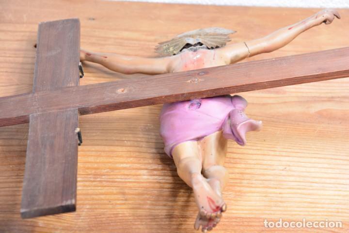 Arte: Crucifijo - Cristo en Cruz - Madera y estuco - Policromado - Marca posible Olot - Foto 21 - 126375503