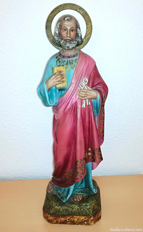 FIGURA SAN PEDRO DE OLOT. 46 CM. (Arte - Arte Religioso - Escultura)
