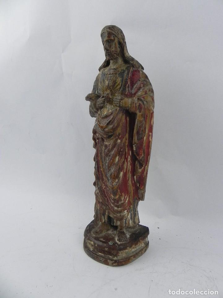 Arte: Talla de madera del Sagrado corazón de Jesús, siglo XIX, Mide 32,5 cms de alto. tal y como se ve en - Foto 3 - 126416591