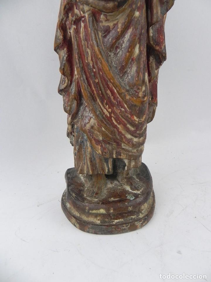 Arte: Talla de madera del Sagrado corazón de Jesús, siglo XIX, Mide 32,5 cms de alto. tal y como se ve en - Foto 6 - 126416591