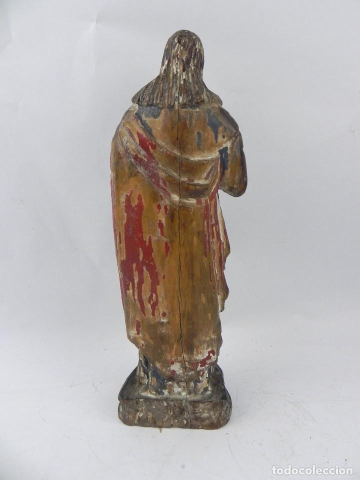 Arte: Talla de madera del Sagrado corazón de Jesús, siglo XIX, Mide 32,5 cms de alto. tal y como se ve en - Foto 7 - 126416591