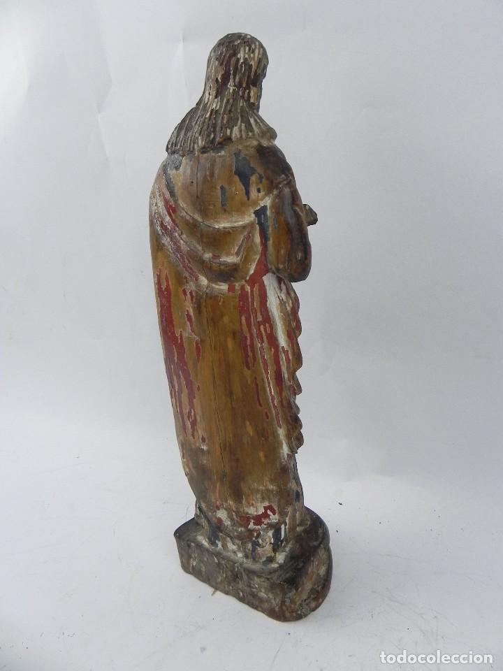 Arte: Talla de madera del Sagrado corazón de Jesús, siglo XIX, Mide 32,5 cms de alto. tal y como se ve en - Foto 8 - 126416591