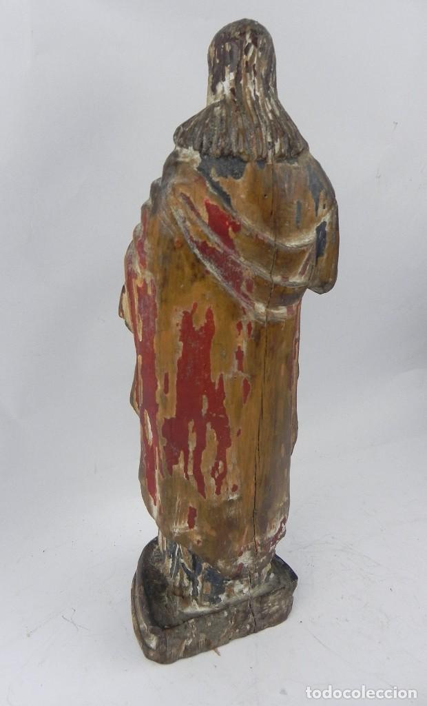 Arte: Talla de madera del Sagrado corazón de Jesús, siglo XIX, Mide 32,5 cms de alto. tal y como se ve en - Foto 9 - 126416591