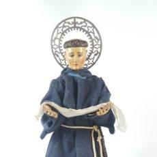 Arte: SAN ANTONIO DE PADUA. MADERA TALLADA Y POLICROMADA. OJOS DE CRISTAL. ESPAÑA. SIGLO XIX. . Lote 126437475