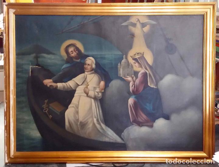 PINTURA AL ÓLEO SIGLO XIX. EL PAPA LEÓN XIII EN BARCA CON JESUCRISTO, LA VIRGEN Y EL ESPÍRITU SANTO (Arte - Arte Religioso - Pintura Religiosa - Oleo)