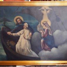 Arte: PINTURA AL ÓLEO SIGLO XIX. EL PAPA LEÓN XIII EN BARCA CON JESUCRISTO, LA VIRGEN Y EL ESPÍRITU SANTO. Lote 126465491