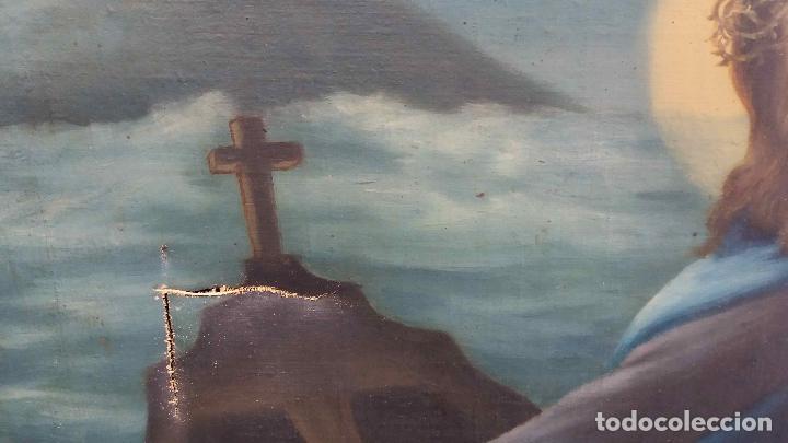 Arte: PINTURA AL ÓLEO SIGLO XIX. EL PAPA LEÓN XIII EN BARCA CON JESUCRISTO, LA VIRGEN Y EL ESPÍRITU SANTO - Foto 4 - 126465491