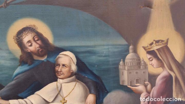 Arte: PINTURA AL ÓLEO SIGLO XIX. EL PAPA LEÓN XIII EN BARCA CON JESUCRISTO, LA VIRGEN Y EL ESPÍRITU SANTO - Foto 5 - 126465491