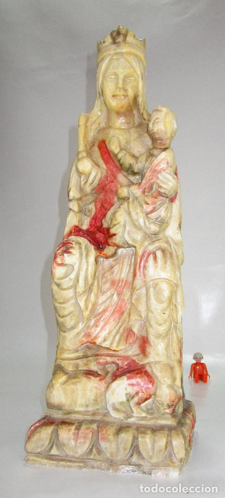 Arte: BESTIAL GRAN IMAGEN 50CM VIRGEN ESCULPIDA EN MARMOL MACIZO ESTILO GOTICA - Foto 3 - 126495559